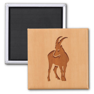 Capricorn silhouette engraved on wood design 2 inch square magnet