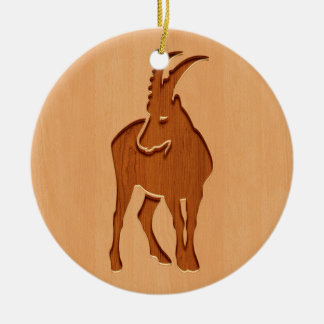 Capricorn silhouette engraved on wood design ceramic ornament