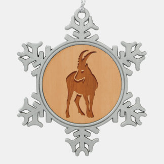 Capricorn silhouette engraved on wood design snowflake pewter christmas ornament