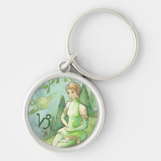 Capricorn Silver-Colored Round Keychain