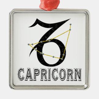 Capricorn Square Metal Christmas Ornament