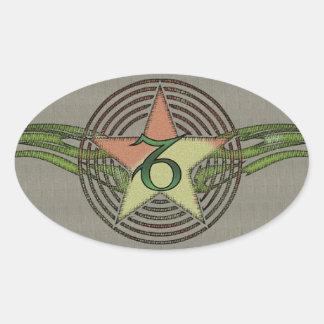 Capricorn Star Oval Sticker