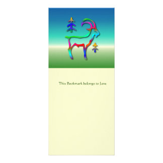 Capricorn Star Sign Rainbow Color Goat Bookmark Full Color Rack Card