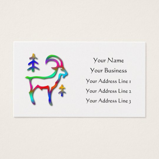 Capricorn Star Sign Rainbow Color Goat Platinum Business Card