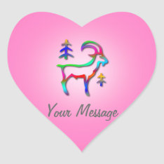 Capricorn Star Sign Rainbow Goat Pink Heart Heart Sticker at Zazzle
