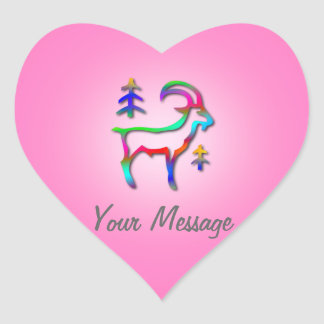 Capricorn Star Sign Rainbow Goat Pink Heart Heart Sticker