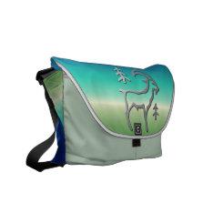 Capricorn The Goat Silver Star Sign On Messenger Messenger Bag at Zazzle