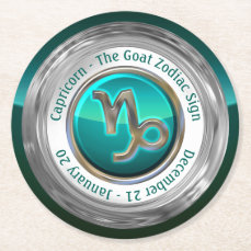 Capricorn - The Goat Zodiac Sign Round Paper Coaster
