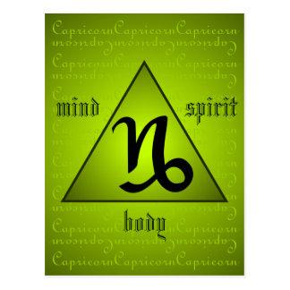 Capricorn Triangle Mind Body Spirit Holistic Green Postcard