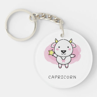 capricorn Vector of horoscope zodiac signs Keychain