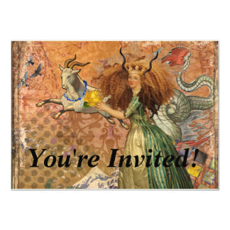 Capricorn Woman Collage Vintage Whimsical Surreal Card