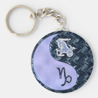 Capricorn Yin Yang Basic Round Button Keychain
