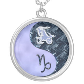 Capricorn Yin Yang Round Pendant Necklace