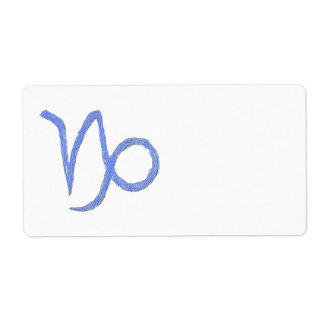 Capricorn. Zodiac Astrological Sign. Blue. Label