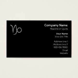 Capricorn. Zodiac Astrology Sign. Black. Business Card