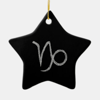 Capricorn. Zodiac Astrology Sign. Black. Christmas Tree Ornaments