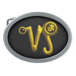 CAPRICORN ZODIAC BIRTHDAY JEWEL  Black Onyx Gold Belt Buckle