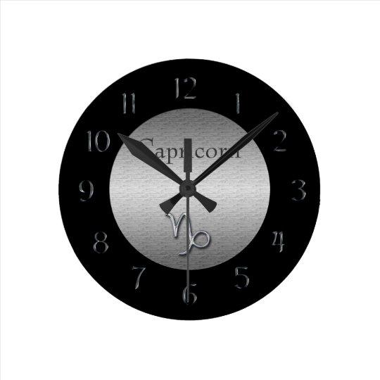 Capricorn Zodiac-Faux Brushed Silver/Black Round Clock