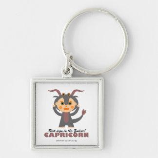 Capricorn Zodiac for kids Silver-Colored Square Keychain