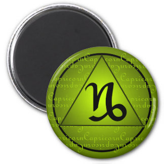 Capricorn Zodiac Green Triangle Curly Script Magnet