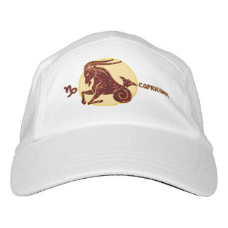 Capricorn Zodiac Knit Performance Hat, White Cap
