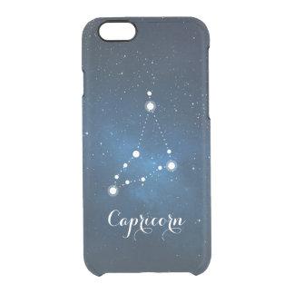 Capricorn Zodiac Sign Blue Nebula Clear iPhone 6/6S Case