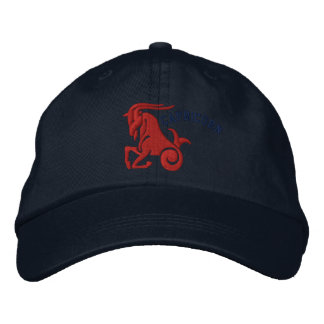 Capricorn Zodiac Sign Embroidery Dec 22 - Jan 19 Embroidered Hats