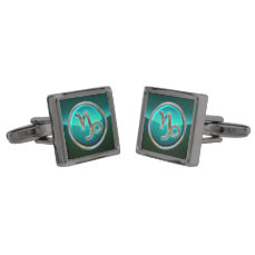 Capricorn Zodiac Sign Gunmetal Finish Cufflinks