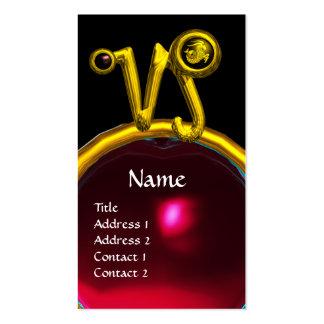 CAPRICORN ZODIAC SIGN JEWEL MONOGRAM, Red Ruby Business Card