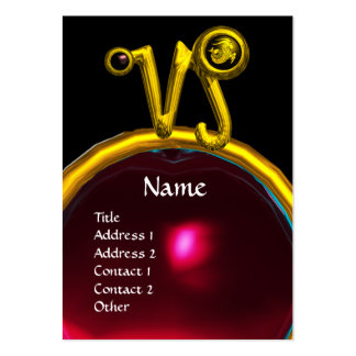 CAPRICORN ZODIAC SIGN JEWEL MONOGRAM,Red Ruby Large Business Card
