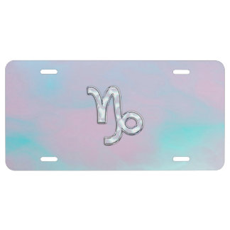 Capricorn Zodiac Sign on Mother of Pearl Nacre License Plate