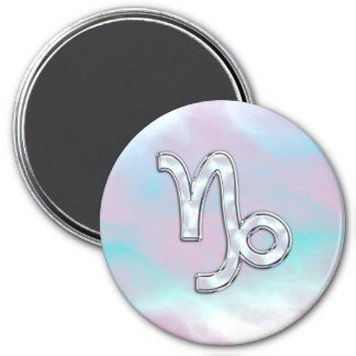 Capricorn Zodiac Sign on Mother of Pearl Style 3 Inch Round Magnet