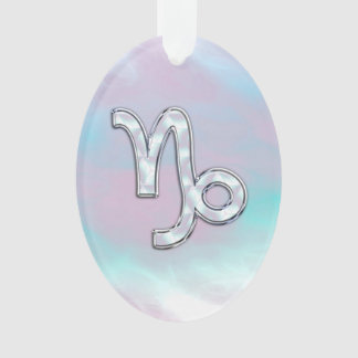 Capricorn Zodiac Sign on Mother of Pearl Style Ornament