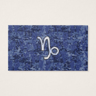 Capricorn Zodiac Sign on navy blue digital camo Business Card