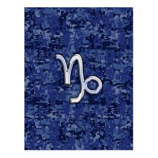 Capricorn Zodiac Sign on navy blue digital camo Postcard
