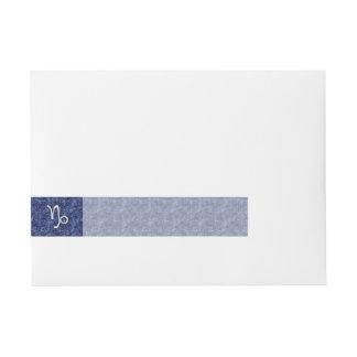Capricorn Zodiac Sign on navy blue digital camo Wrap Around Address Label
