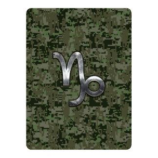 Capricorn Zodiac Sign on olive green digital camo Card