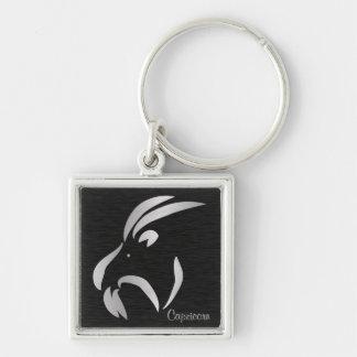 Capricorn Zodiac Sign Silver-Colored Square Keychain