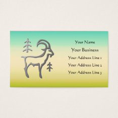 Capricorn Zodiac Silver On Sand Green Blue Business Card at Zazzle