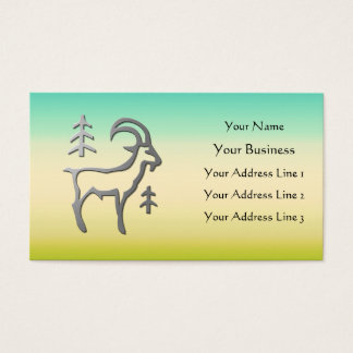 Capricorn Zodiac Silver on Sand Green Blue Business Card