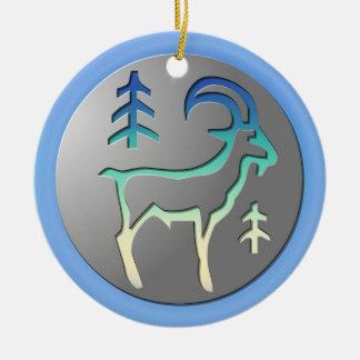 Capricorn Zodiac Star Sign Premium Silver Double-Sided Ceramic Round Christmas Ornament