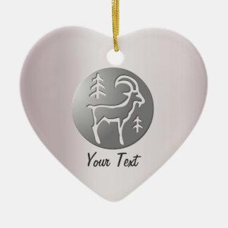 Capricorn Zodiac Star Sign Premium Silver Double-Sided Heart Ceramic Christmas Ornament