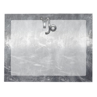 Capricorn Zodiac Symbol Distressed Steel Decor Notepad