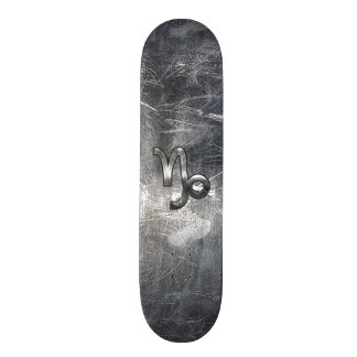 Capricorn Zodiac Symbol Distressed Steel Decor Skateboard Deck