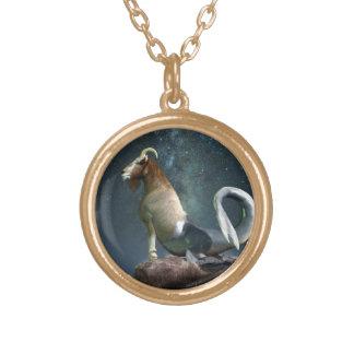 Capricorn Zodiac Symbol Gold Plated Necklace
