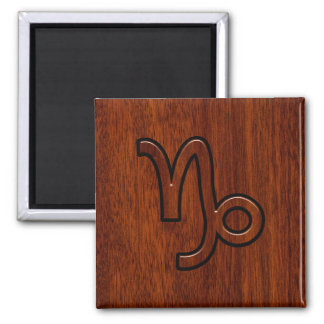 Capricorn Zodiac Symbol in Mahogany Brown 2 Inch Square Magnet