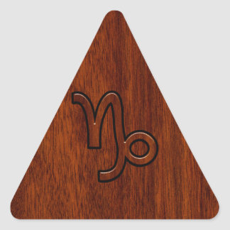 Capricorn Zodiac Symbol in Mahogany Brown Triangle Sticker