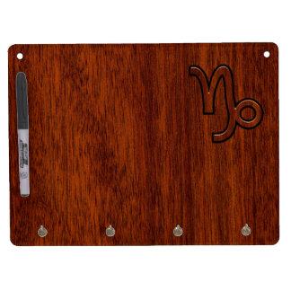 Capricorn Zodiac Symbol in Wood Grain Style Dry Erase Board With Keychain Holder
