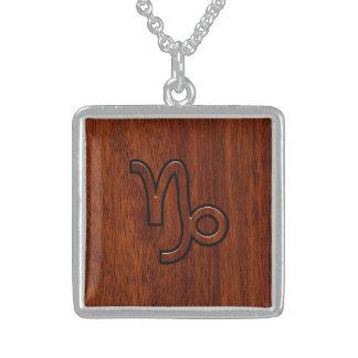 Capricorn Zodiac Symbol in Wood Grain Style Square Pendant Necklace