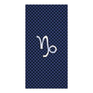 Capricorn Zodiac Symbol Navy Blue Carbon Fiber Card